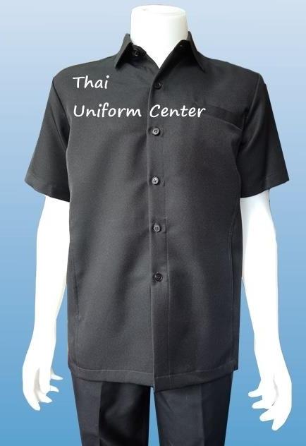 เสื้อซาฟารี แขนสั้น สีดำ